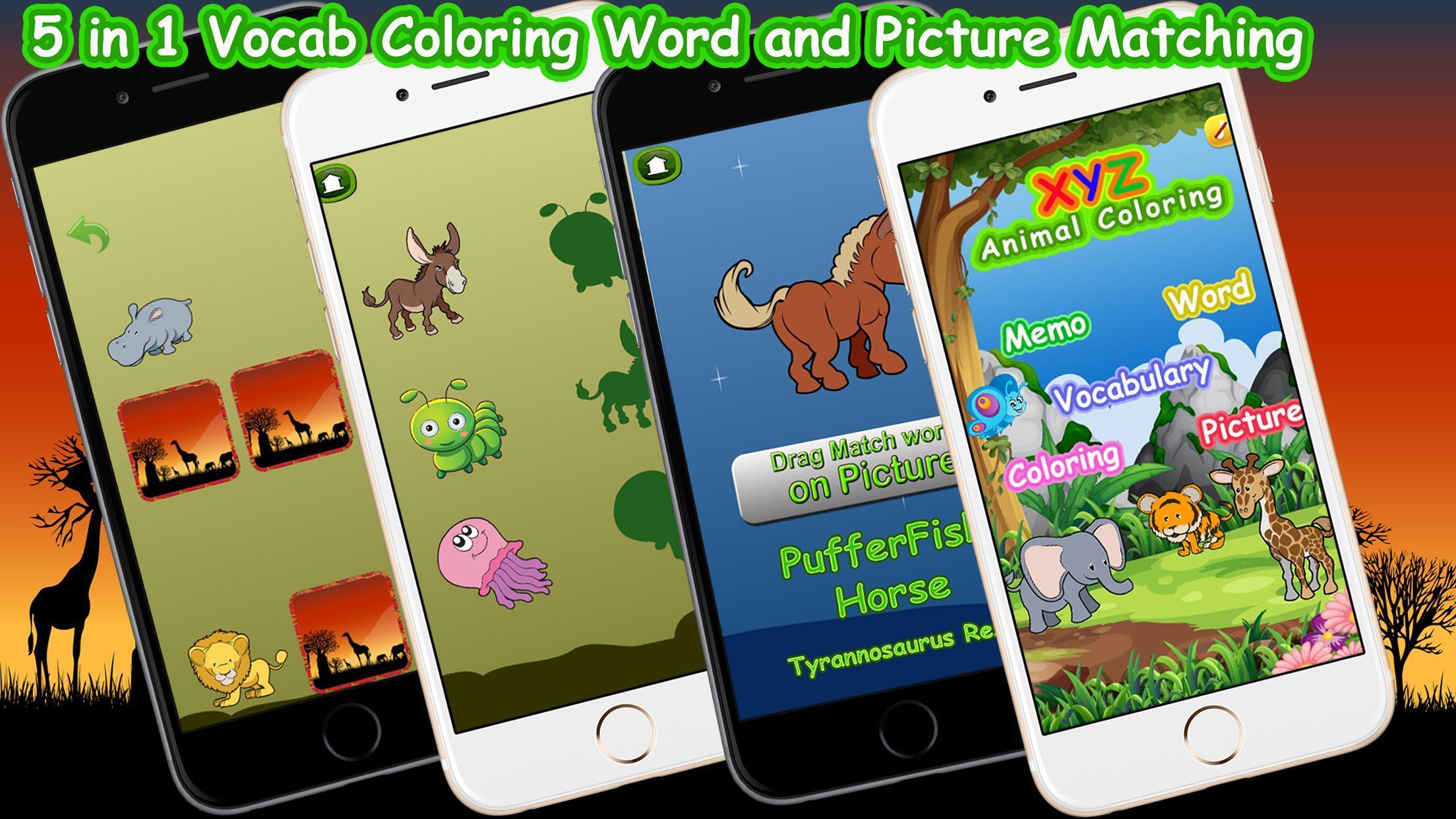 Xyz животных раскраски игры для андроид скачать Apk