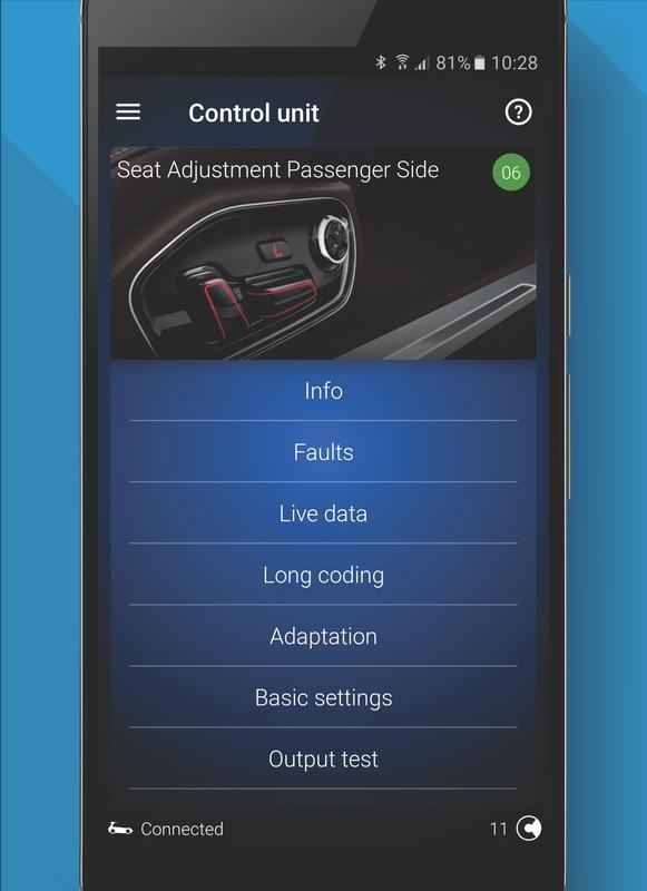 obdeleven pro car diagnostics app vag obd2 scanner apk. Black Bedroom Furniture Sets. Home Design Ideas