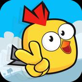 Bird fall down icon