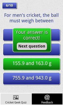 Cricket Geek Quiz apk screenshot