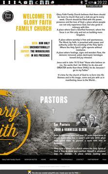 Glory Faith Family Church poster