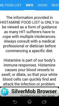 HISTAMINE FOOD LIST screenshot 1