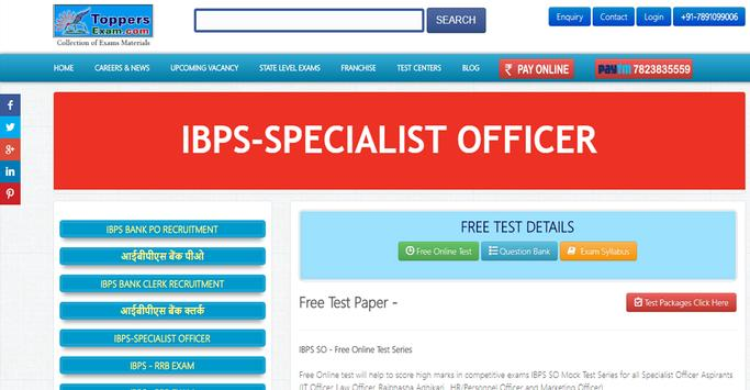 IBPS SO Exam HR/Personnel   Exam Mock Test Series poster