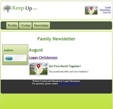 Keep Up Family Newsletter poster