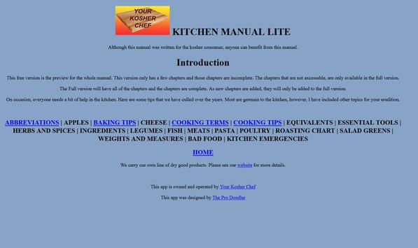Kosher Chef Kitchen Manual OLD apk screenshot