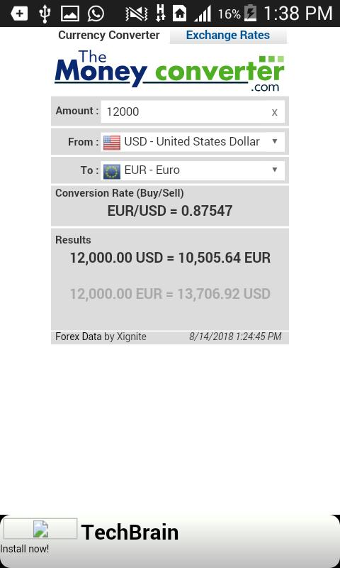 Real Time Money Converter Pour Android
