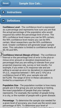 Sample Size Calculators apk screenshot