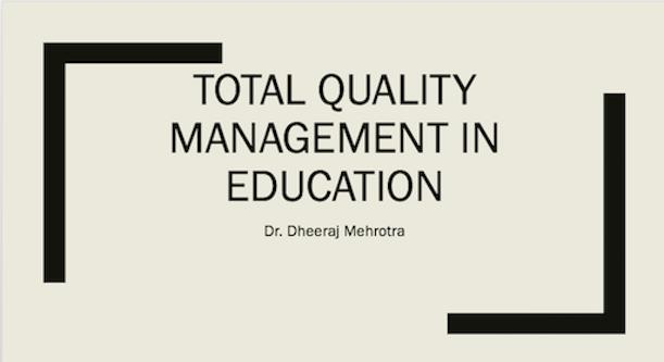 TQM IN EDUCATION poster