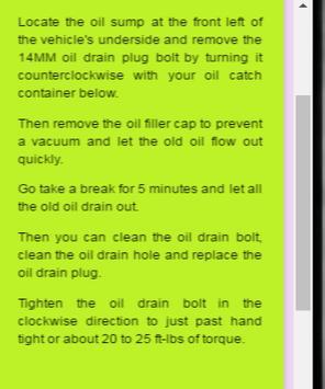 Toyota Corolla Oil Change screenshot 1