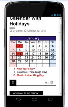 US Calender with Holidays 2018 Complete poster