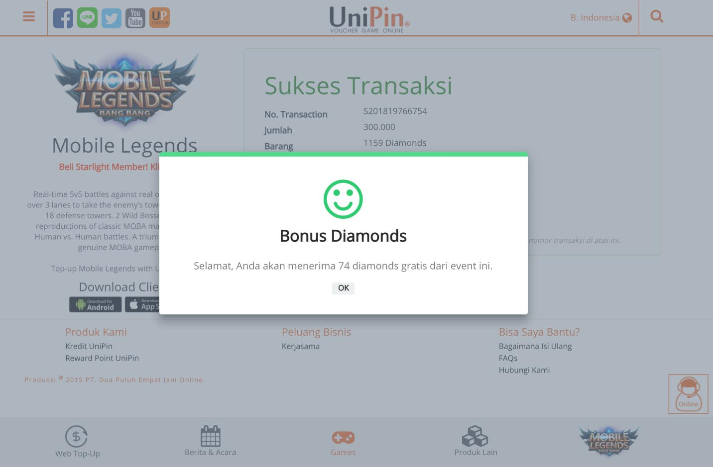 Unipin Topup Diamond Ml Via Pulsa For Android Apk Download