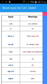Word roots for CAT, GMAT poster