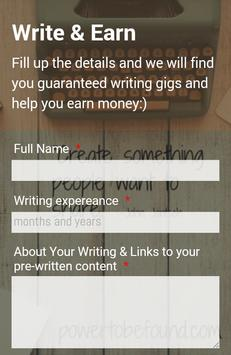 Write and Earn poster