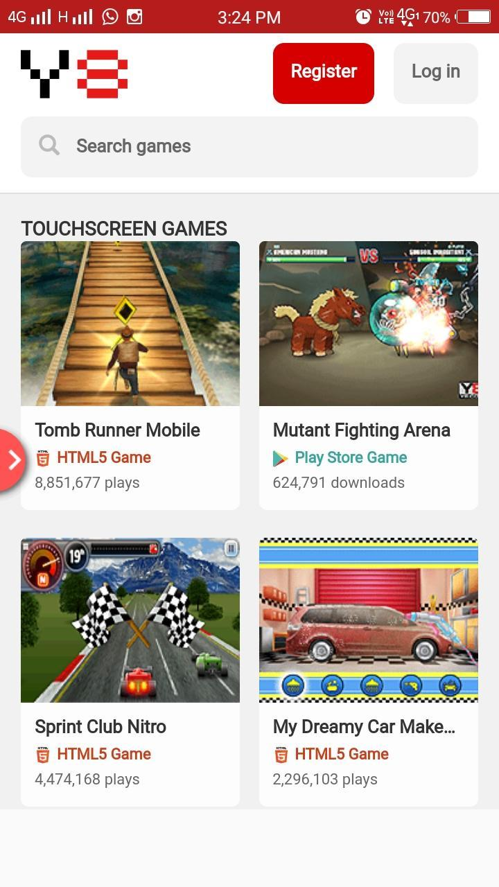 Y8 Mobile App - one app for all your gaming needs for