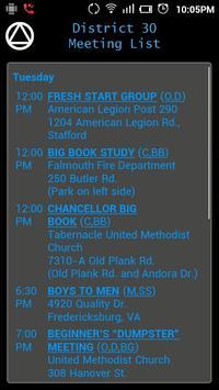 AA District 30 Meeting List apk screenshot