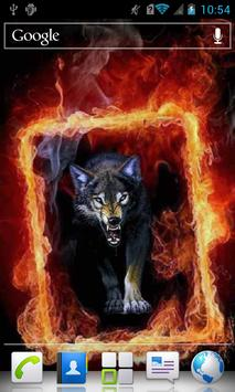 Wolf in Fiery Frame a live poster