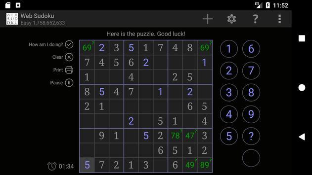 Web Sudoku スクリーンショット 1