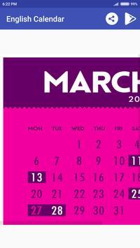 English Calendar 2017 apk screenshot