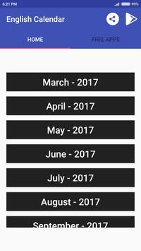 English Calendar 2018 apk screenshot
