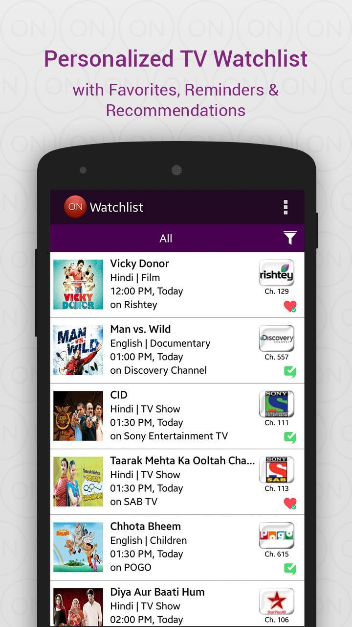 What's On India : a tv guide app for Android - APK Download