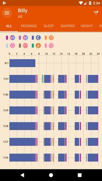 Amamentação - Diário de atividades do bebê apk imagem de tela