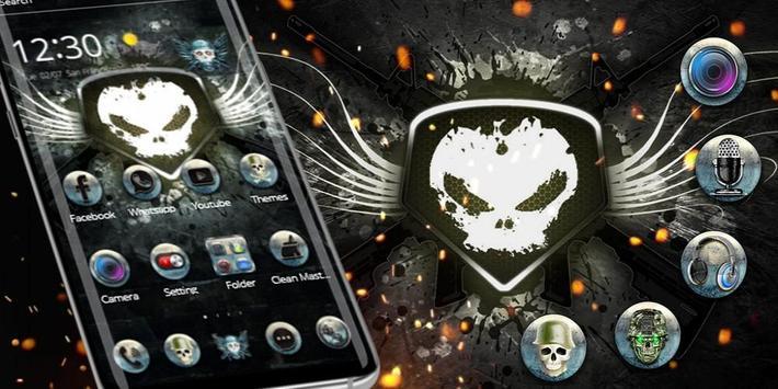 White Iron Skull Gun Theme screenshot 3