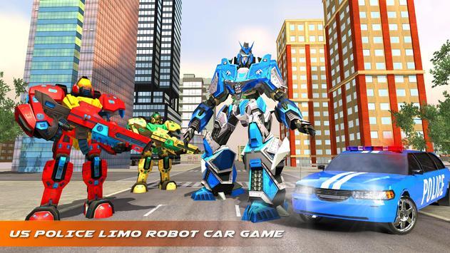 US Police Robot Limo Car Transformation Game screenshot 6