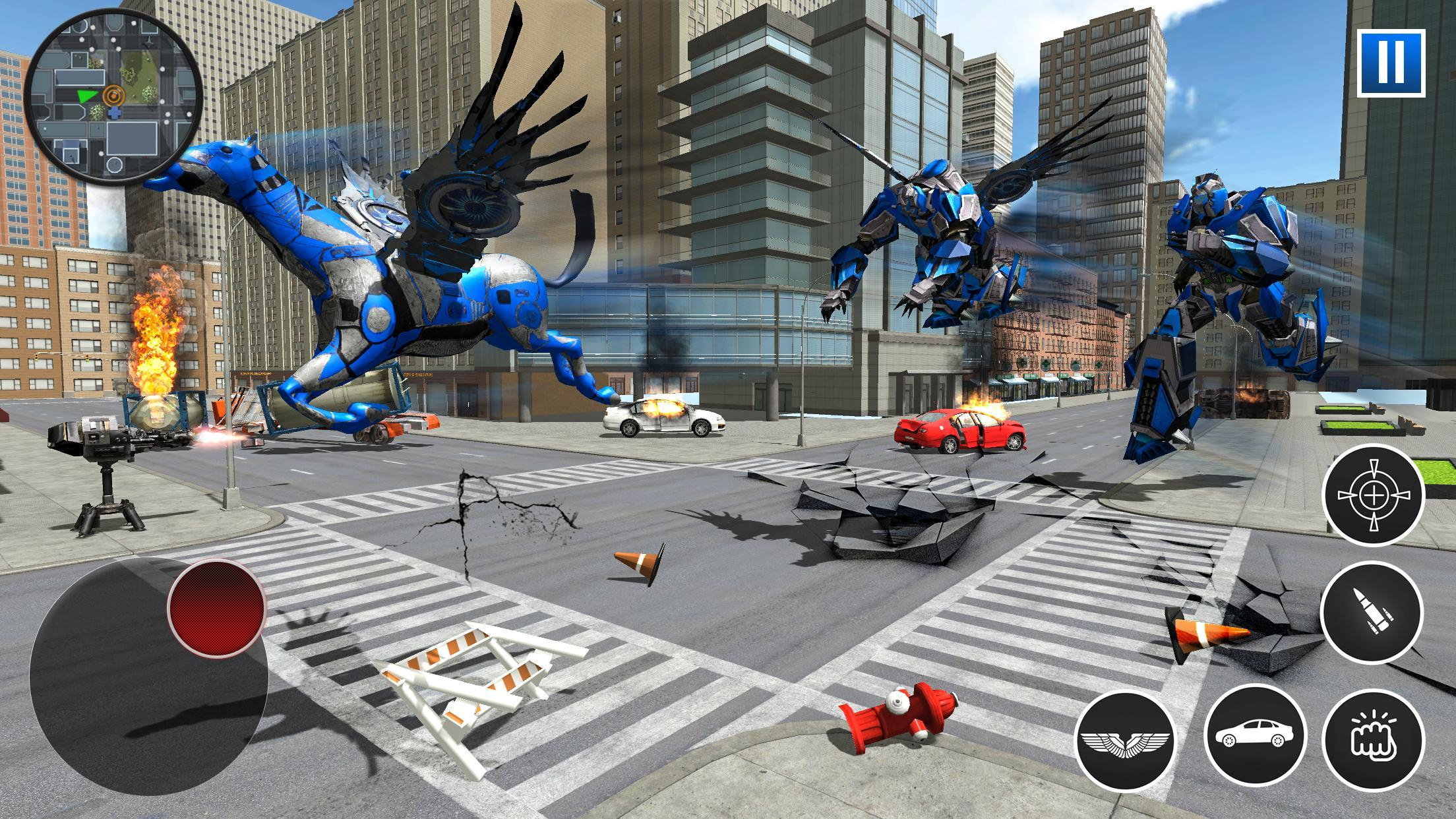 US Police Robot Car Flying Horse Simulator Game for Android