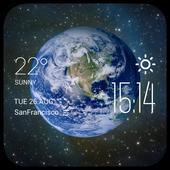 Earth in Universe Clock Widget icon