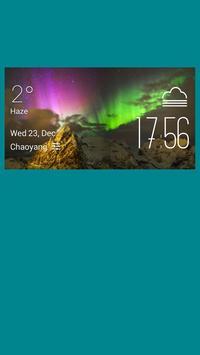 Aurora weather widget/clock poster