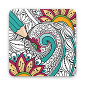 Mandalas & Coloring Pages. Adult Coloring Books. icon
