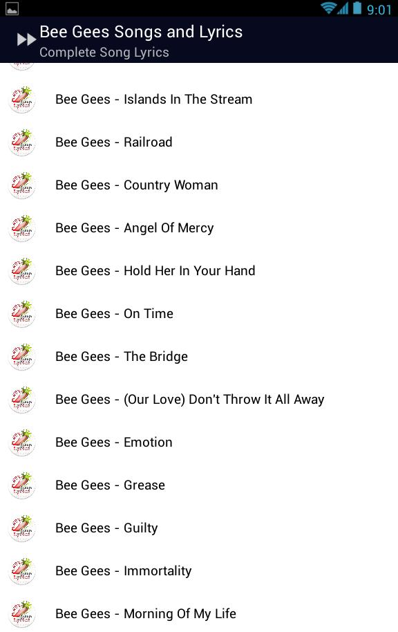 Bee Gees Stayin' Alive Lyrics for Android - APK Download