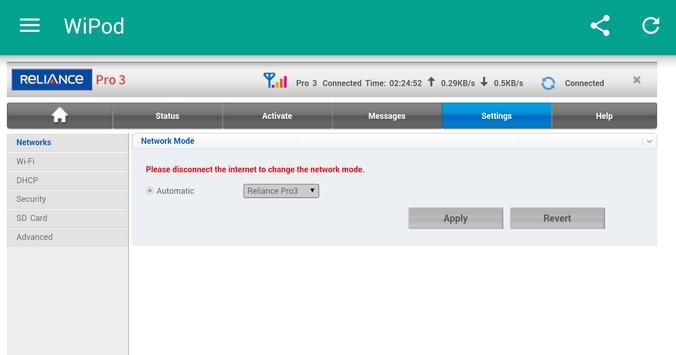 Reliance  4G Wipod App apk screenshot