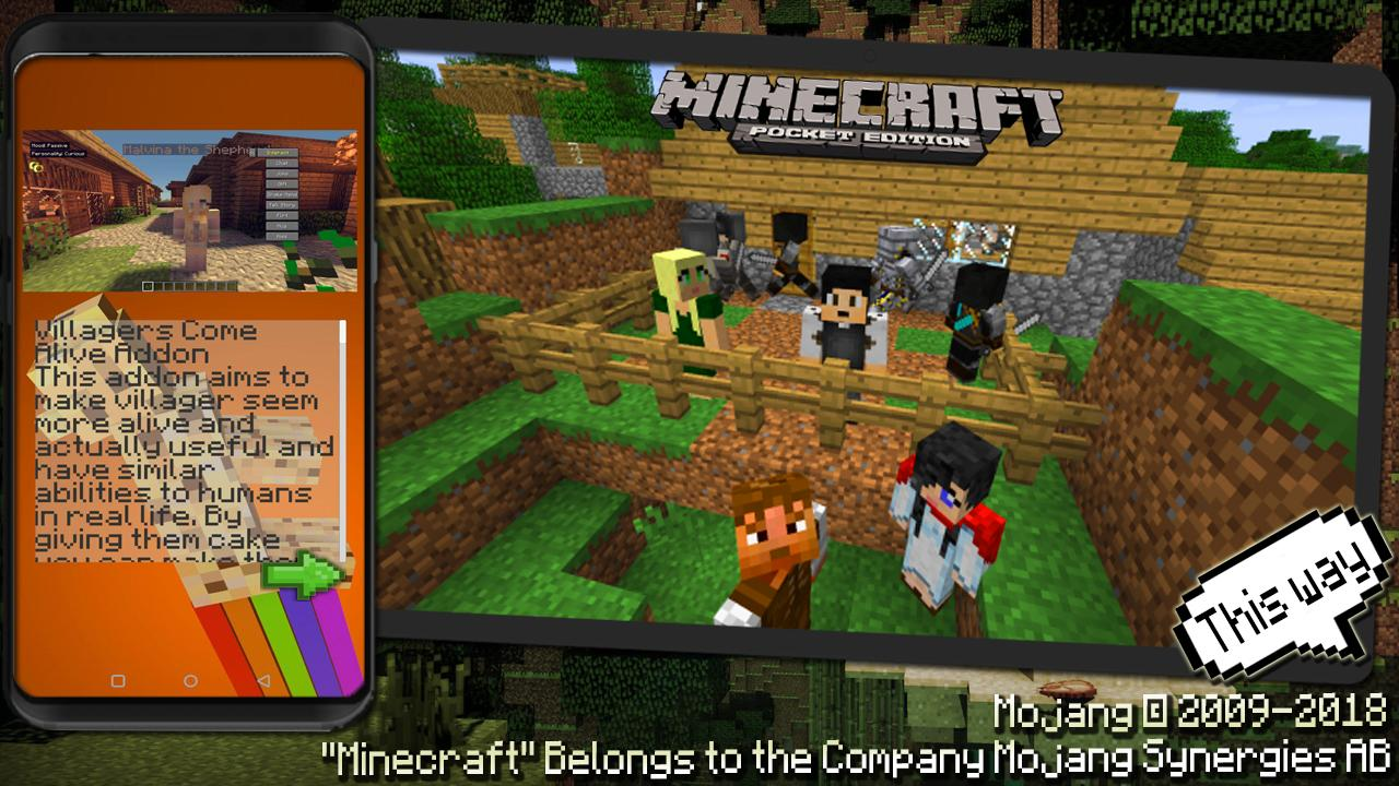 Addon Comes Alive 2 Villagers for Minecraft PE for Android - APK
