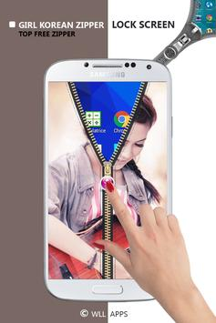 Girl Korean Zipper Lock Screen screenshot 3