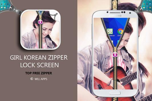 Girl Korean Zipper Lock Screen screenshot 14