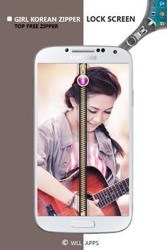 Girl Korean Zipper Lock Screen screenshot 16