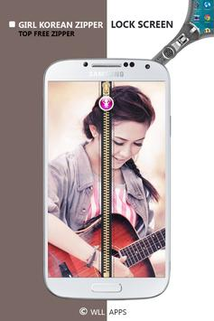Girl Korean Zipper Lock Screen screenshot 2