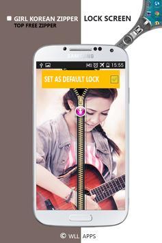Girl Korean Zipper Lock Screen screenshot 5