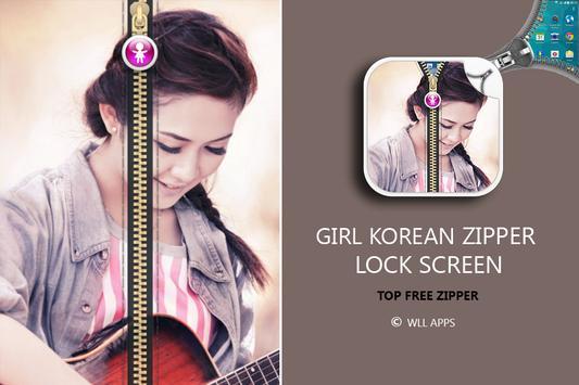 Girl Korean Zipper Lock Screen screenshot 8