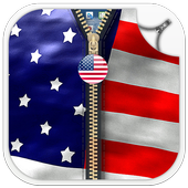 Usa Flag Zipper Lock Screen icon