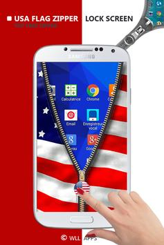 Usa Flag Zipper Lock Screen apk screenshot