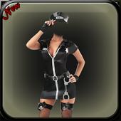 Women police suit photo maker icon