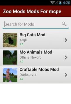 Zoo Mods Mods For mcpe apk screenshot