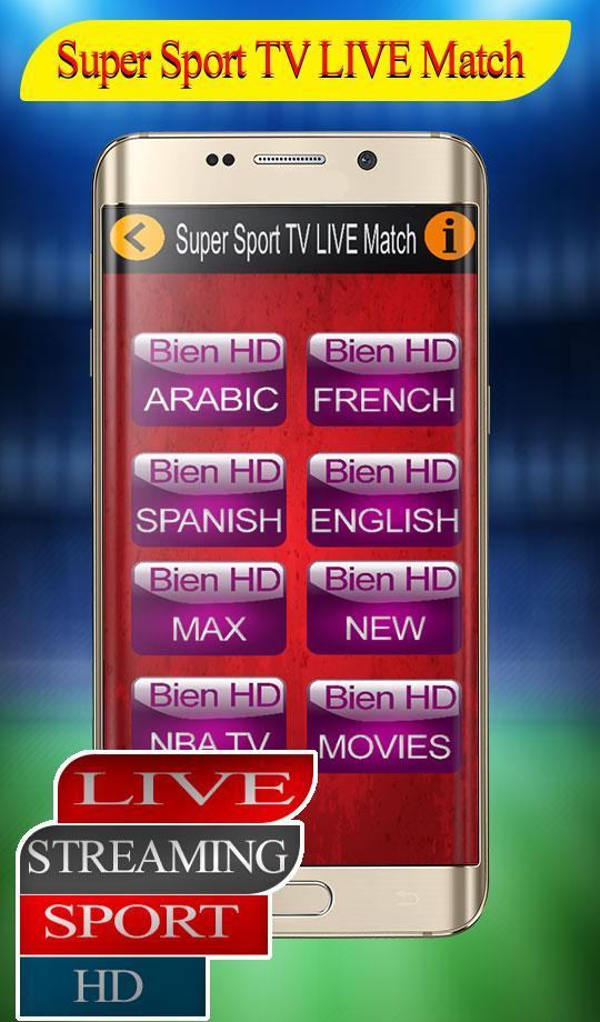 Super Live Tv Sports HD free 2018 guide for Android - APK