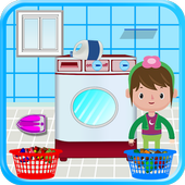 Washing and Ironing Clothes: Kids Laundry Game icon
