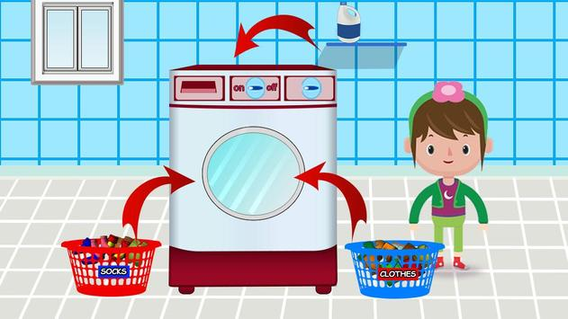Washing and Ironing Clothes: Kids Laundry Game screenshot 2