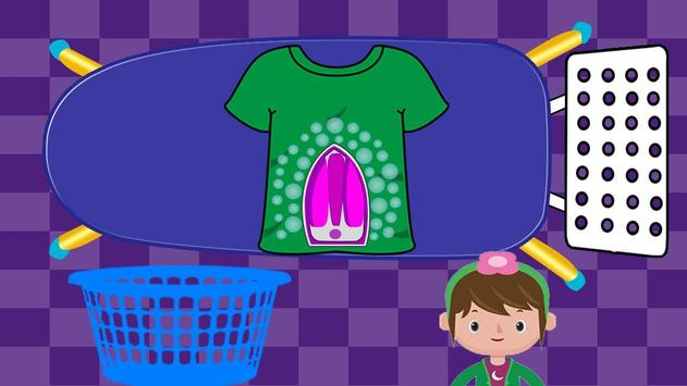 Washing and Ironing Clothes: Kids Laundry Game screenshot 5