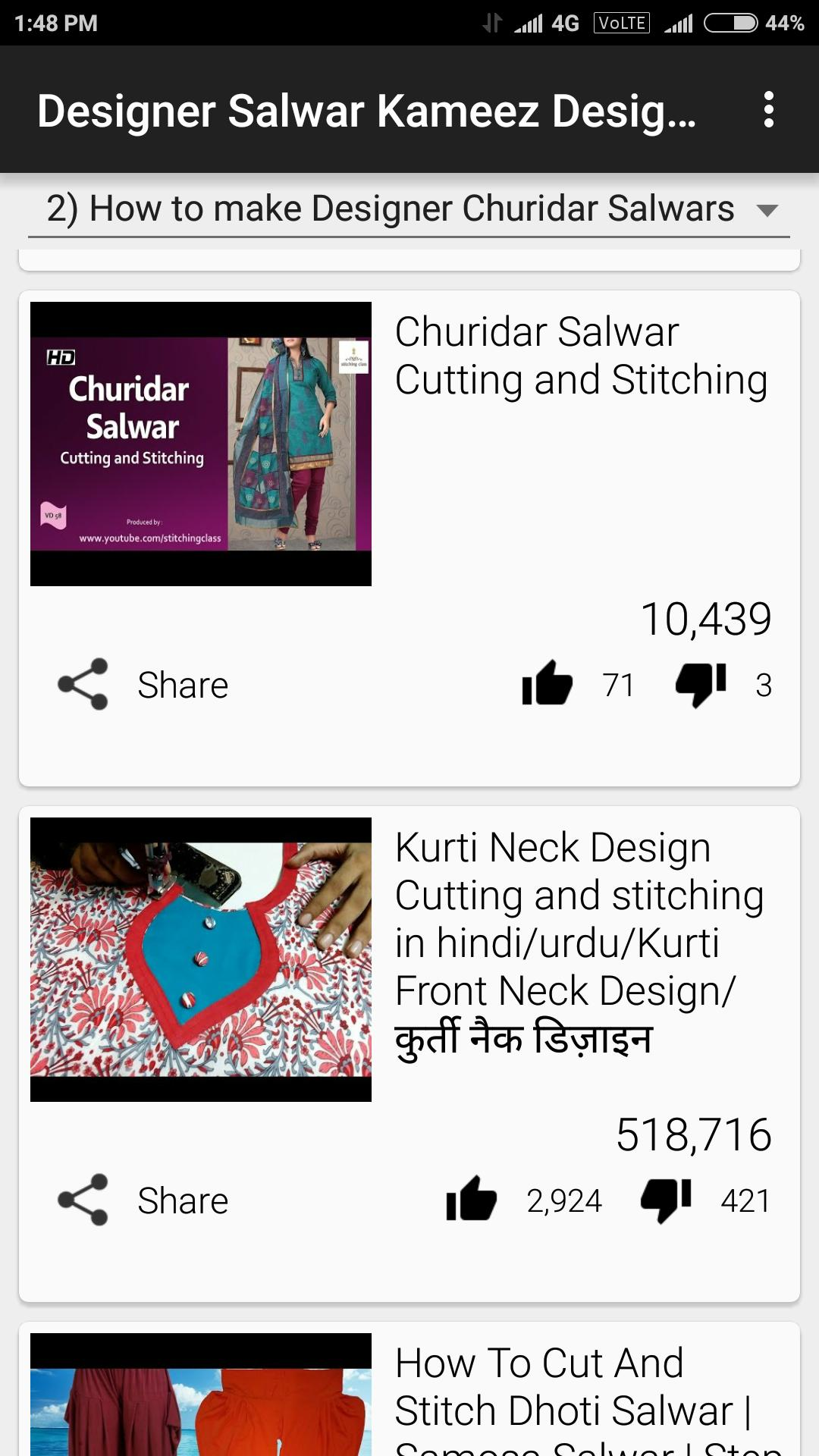 Salwar Kurti Cutting and Stiching Videos for Android - APK