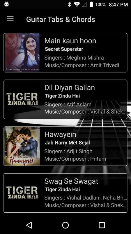 Guitar Tabs & Chords Bollywood Songs (Hindi) APK Download - Free ...